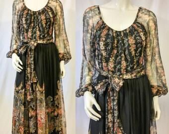 1970s Floral Peasant Dress,  Black Boho Maxi Dress, Gypsy Dress, Romantic Style