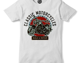 Classic Motorcycle T Shirt Build and Repair Tshirt Motorcycle Club Tshirt Motor Bike Tshirt Mens T Shirt PP149