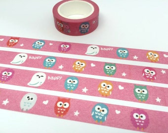 Owl tape 10M colorful owl washi tape baby owl cute bird tape pink deco sticker tape owl decor removable adhesive tape scrapbook gift