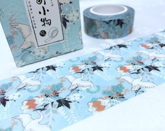 Japanese  cranes washi tape 10M white bird thousand cranes masking tape flying bird sticker tape bird planner scrapbook gift bird decor
