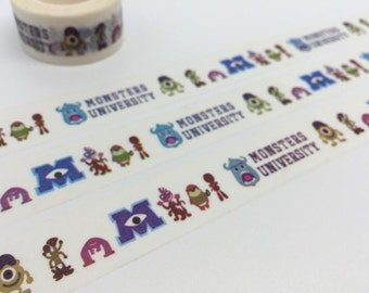 Monster tape 10M x 2cm Monster uni Cute washi tape funny cartoon sticker tape kids birthday planner decor kid party gift bag tape