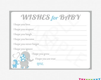 Blue Elephant Baby Shower Boy, Wishes for Baby Boy, Wishes for Baby Printable, Instant Download, Baby Shower Wishes, ELLBG