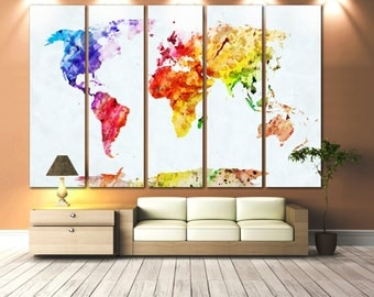 large world map canvas set of 5 or 3 or 1 panels wall dcor world - World Map Decor