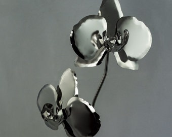 11th Wedding Anniversary Gift Steel Orchid Stainless Metal Flower