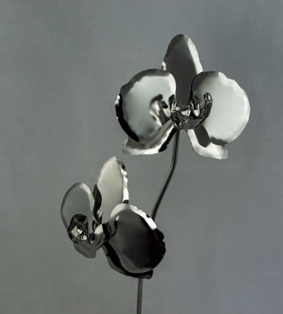 11th Wedding Anniversary Gift Steel Orchid Stainless Metal