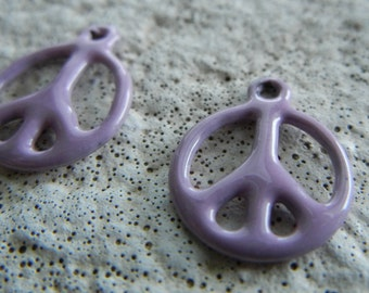 14x11mm Pink Enameled Peace Sign Charm by C-Koop Beads (1 pc)