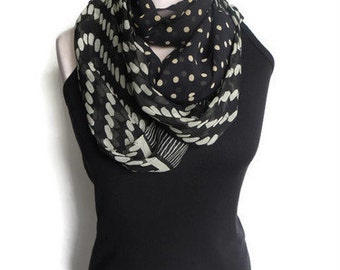 Stripes Polka Dot Black and Cream Inifinity Scarf
