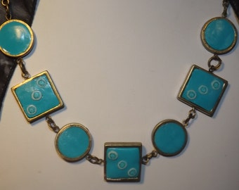 Polymer clay necklace with bronze chain or  findings, turquoise,  handmade.