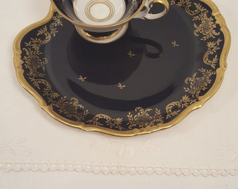 Rare vintage Weimar Kobalt teacup, coffee cup and snack tray