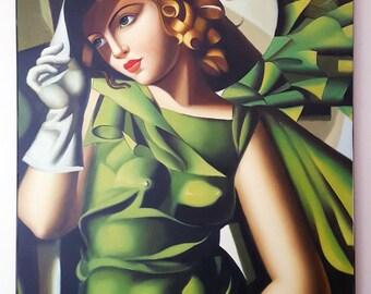 "Tamara de Lempicka - Young Lady with Gloves 1929 (Replica) 24""x36"" Canvas"