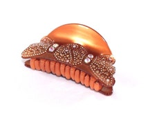New Cooper Brown Butterfly Bow Hair Clip Claw w/Brown Clear AB Crystals