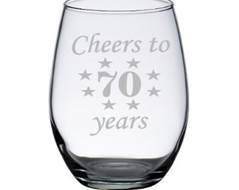 70th birthday wine glasses 70th birthday gifts for women 70th birthday ...