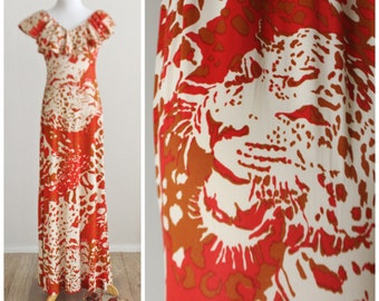 Vintage 60's 70's Leopard Graphic Print Rust Red Ruffled Top Hippie Boho Caftan Maxi Dress