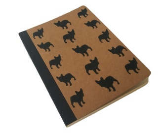Black French Bulldog Dog Hand Printed A5 Brown Kraft Lined Notebook Journal