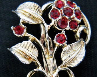 Vintage Rhinestone Flower Brooch Coat Sweater Pin Silver Tone Ruby Red 1.75""