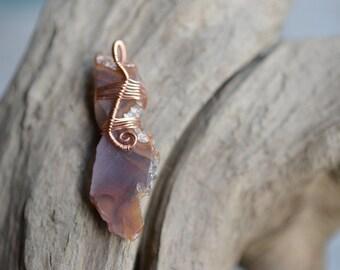 Purple Agate Slice with Copper Wire