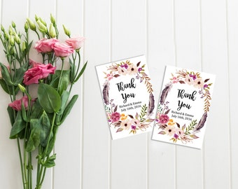 Boho Floral Wreath Personalized Favor Gift Tags, Printable Boho Wedding Favor Tags, Feathers Favor Tags, Floral Thank You, Download, 111-W