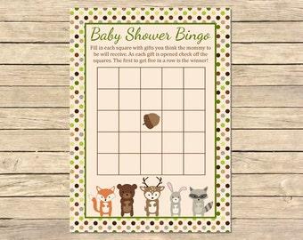 Woodland Animals Bingo Game, Forest Animals Bingo Activity, Woodland Animals Baby Shower Bingo Cards, Printable, Instant Download, 003-A