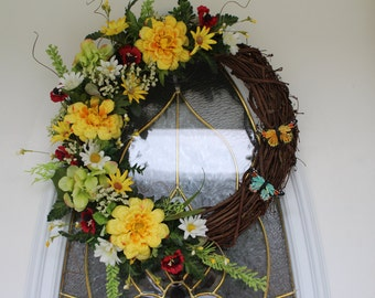 Spring Wreath, Summer Wreath, Butterfly Wreath, Grapevine Wreath, Wreath, Front Door Wreath