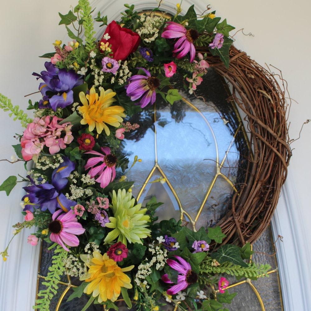 Spring Wreath Summer Wreath Front Door Wreath Grapevine