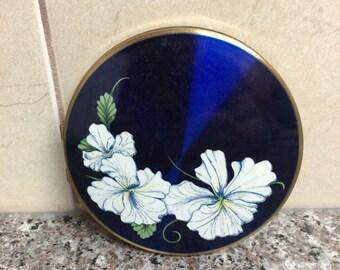 Vintage Stratton 1960's floral powder mirror compact