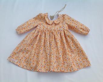 Baby girl dress, Floral dress, Girls  dress, summer dress, baby floral dress, Orange dress, handmade dress, age six months