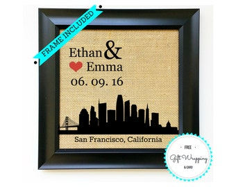 SAN FRANCISCO Personalized Wedding Gift California Wedding Gifts San Fran Housewarming Bridal Shower Present Unique Gift Idea Frame Included