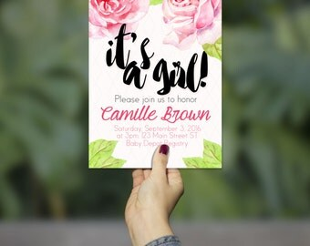 Floral Baby Reveal Invitation