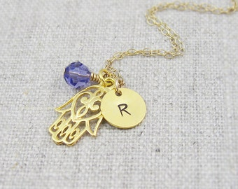 Personalized gold hamsa hand necklace, swarovski crystal, gold filled chain, initial necklace, hand of fatima necklace, spiritual jewelry