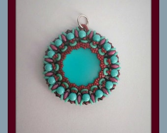 Turquoise Cabochon Pendant 24 mm with Burgundy and coloring