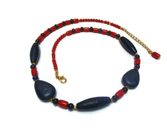 Natural Lapis Lazuli and coral necklace /  Red coral, Lapis Lazuli necklace / Statement necklace / Dark blue and red necklace / Gift for her