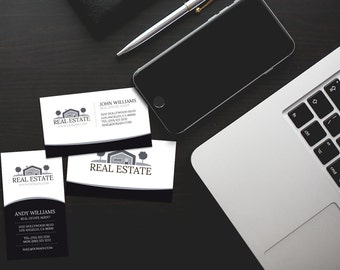 Elegant Black and White Real Estate Business Cards Template [PSD   INSTANT DOWNLOAD]