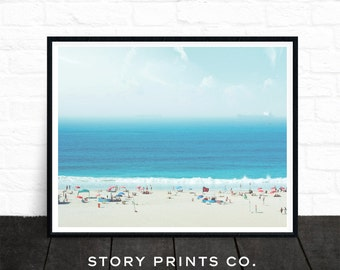 Beach Print, Landscape Print, Beach Life, Beach People,  Summer Print, Coastal Print, Ocean Art, Beach Decor, Large Poster, Printable Art