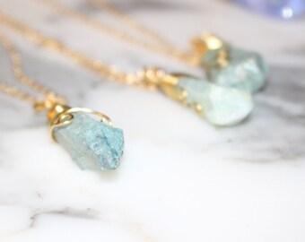 Aquamarine Crystal Necklace, Raw Gemstone, Bohemian Jewelry, Aquamarine Crystal Necklace,  Healing crystal pendant, March Birthstone