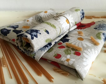"""2 tea towels  linen flowers """"""""Meadow"""" (20"""" x 27,6""""), Mother's Day / Father's Day / Easter / Gift"""