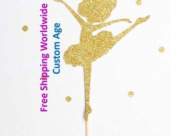 Gold Glitter Ballerina Cake Topper personalised with age - Birthday, Baby shower, Ballerina Party