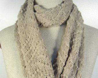 lace knit scarf, lacy knitted scarf, cream knit infinity scarf, lace knit shawl, camel sand merino wool, gift for her, festotu