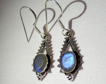 Natural Labradorite Earrings - Labradorite earrings with 92.5 Sterling Silver - Gemstone unique handmade earrings - Gift for Her :)