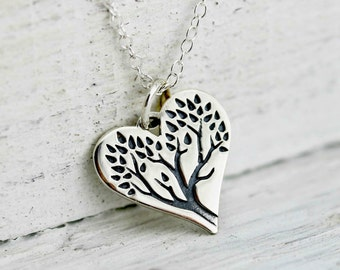 Tree of Life Heart Necklace - Sterling Silver Tree of Life Heart Pendant - Family Tree Necklace - Tree of Life Necklace - Heart Necklace