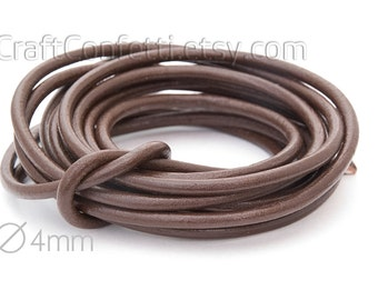 Brown leather cord 4mm Natural leather cord Italian leather cord Jewelry supplies Jewelry cord Genuine leather round cord  2.15m