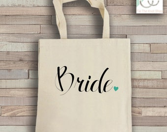 Bride Tote Bag - Natural Cotton Canvas Tote - Wedding Tote Bag - Bride Reusable Bag - Shoulder Bag - Canvas Bag