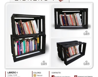 Recycled bookcases made with wooden crates