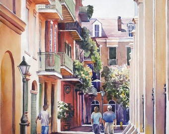 French Quarter New Orleans, Pirates Alley historic architecture  print from watercolor painting