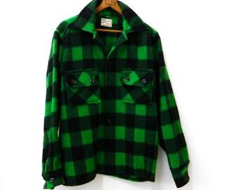 Vintage 1940s - 1950s Buffalo Plaid Shirt Jacket...Weather Wise Green Buffalo Plaid Coat...American Work Wear...Wool Green Plaid Jacket