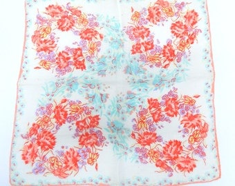 Vintage 1940s Handkerchief...Floral Wreath Hankie...Bold, vibrant colors!...Square cotton hankie trimmed in pink