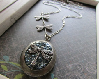 Dragonfly locket , Antique silver style Dragonfly locket.