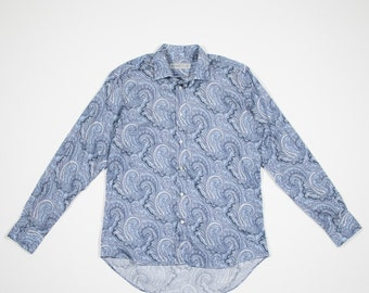 ETRO - Cotton blue long sleeved paisley shirt
