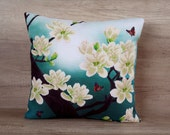 Magnolia cross stitch on turquoise embroidery pillowcase 18 x 18 (43 x 43cm) ~ gift idea, oriental style cushion, asian-style design