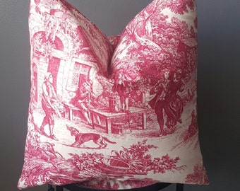 Vintage French Country Cottage Linen Toile- Decorative Pillows - Raspberry Red & Ivory pillow cover