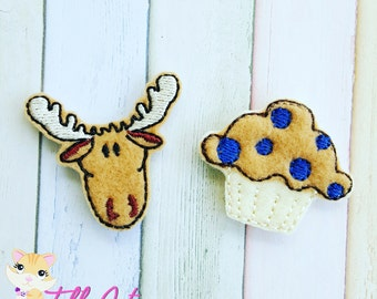 If You Give a Moose a Muffin Machine Embroidered Feltie Appliques Moose Felties Muffin Felties Hair Bow Supples Moose and Muffin Felties